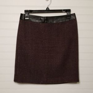 DKNY Purple and Navy Tweed Lined Mini Skirt